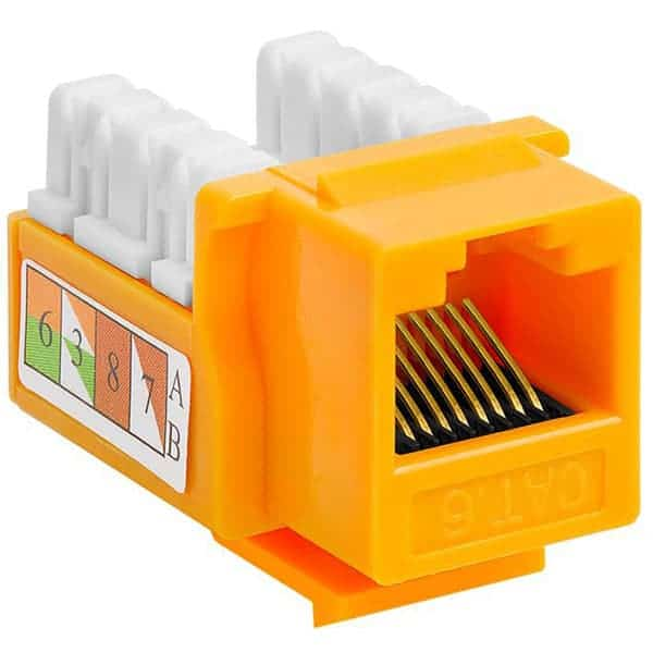 Cat6 Keystone Jacks 110 Punch Down Yellow
