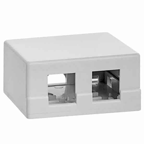 Keystone Jack 2 Port Surface Mount Box White Color