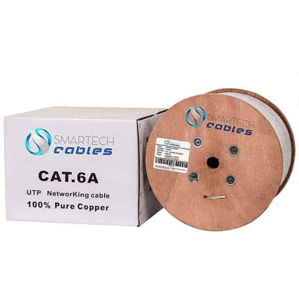 White Cat6a Cable, 1000ft Bulk Solid cat6a