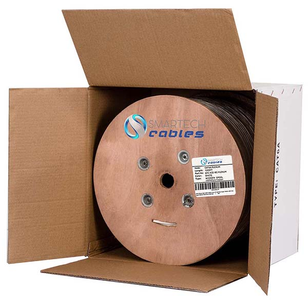 Cat6a Bulk Cable, 1000ft Solid Copper, Cat6a Bulk Cable White Spool