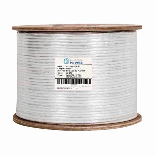 1000ft Solid Copper, Cat6a Bulk Cable White Spool